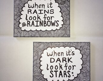 Set of 2 Hand-drawn Wall Art Canvases with Quote