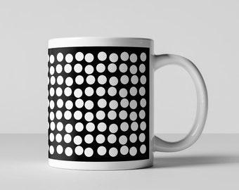 Black and White Modern Retro Big Fun Dots Coffee Mug