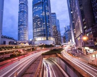 Night Time Art Print, Large Wall Art, City Never Sleeps, Kowloon Photography, Landscape Photograph, Hong Kong Art Print