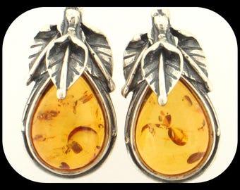 925 Sterling Silver & Baltic Amber Cab Cut Pear Shape Stud EARRINGS