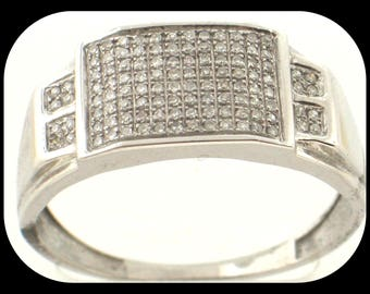 New MENS 0.45CT Diamond 925 Sterling Silver Cluster Band RING Size 11
