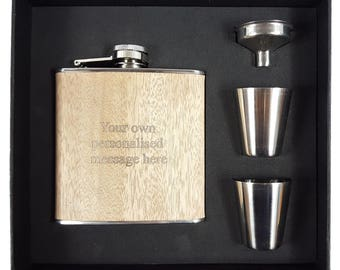 Personalised Engraved Wooden Hip Flask - Customize Your Text