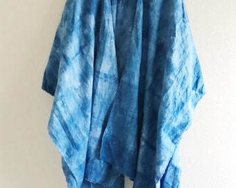 Ready to ship, Linen Ruana Wrap, Indigo Ruana, Shibori Ruana poncho, Blue Ruana, Linen Ruana Shawl, linen blanket Scarf, Blue Ruana Wrap
