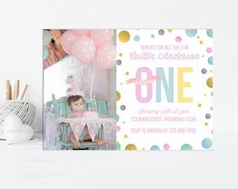 Girls First Birthday Invitation, First Birthday Invitation, Girls Birthday Invitation, 1st Birthday Invitation, Printable Invitation w Photo