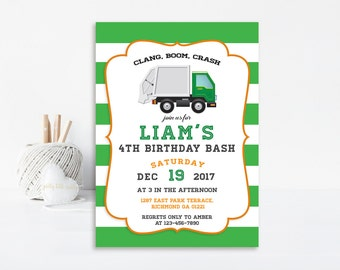 Garbage Truck Invitation, Garbage Truck Birthday, Garbage Truck Party, Trash Truck, Garbage Birthday, Truck, Printable Invitation, Trash