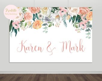 Printable Floral Wedding Backdrop Bridal Shower Photography