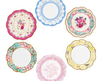 floral paper plates tea party paper plates bridal shower hen party paper