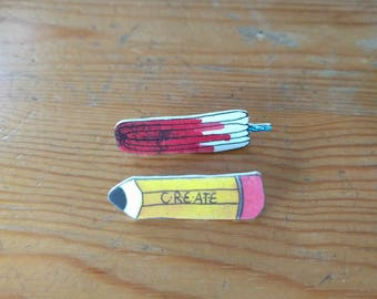 Pencil & tampon brooch