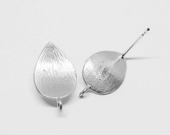 E0099/Anti-Tarnished Matte Rhodium Plating Over Brass/Textured Curve Teardrop  Earrings /9mm x 15.5mm /1 pair