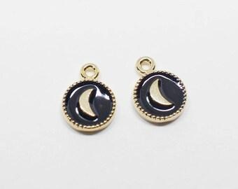 P0628/Anti-Tarnished Gold Plating Over Brass +Epoxy/Mini Crescent Moon Black Epoxy Pendant/6X8mm/2pcs