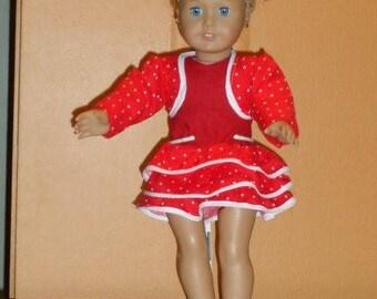 American Girl Red and White Poke-A-Dot Ruffled Dress