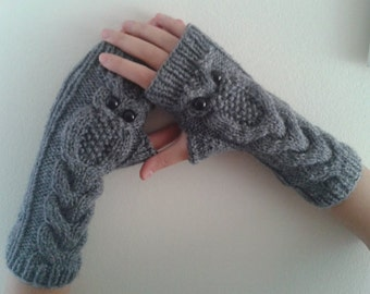 Gray Owl Hand-Knitted Fingerless Gloves/Winter Accessories /Valentine's Day crochet gloves/Winter Gloves/WORLDACCESSORY