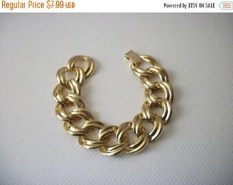 ON SALE Vintage Gold Tone Wide Metal Connecting Links Bracelet 112916
