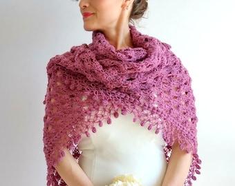 Crochet pink shawl, fushia shawl, wedding wrap, bridal cover up, dark pink shawl, winter wedding, gift for her, ready to ship, fast shipping
