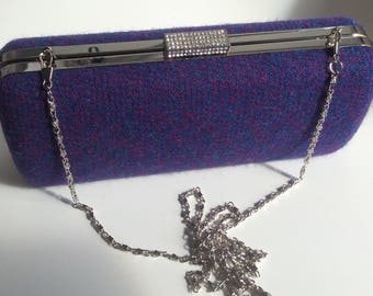 Harris Tweed, purple and cerise herringbone clutch/evening bag