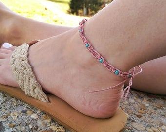 Beaded Anklet - Macrame Anklet, Bohemian Anklet, Beaded Ankle Bracelet, Boho Jewelry, Hemp Anklet, Summer Outdoors, Pink Bracelet
