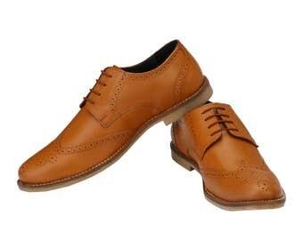 Mens Classic Formal Tan Brogue | Jacksin Shoes