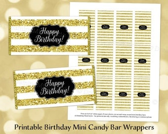 Printable Mini Candy Bar Wrapper Labels Happy Birthday Gold Stripes Digital