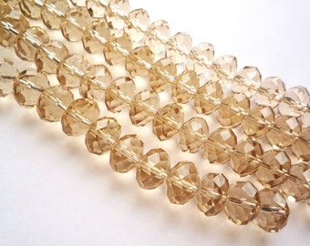 Destash, 70 large faceted champagne glass beads,  12 x 8 mm faceted rondelle beads