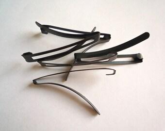 15 vintage black steel barrettes, Plain blank open center barrettes with gunmetal finish,