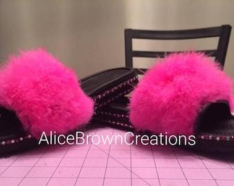 Fuzzy Fury Blinged Pink Women's Flip Flops