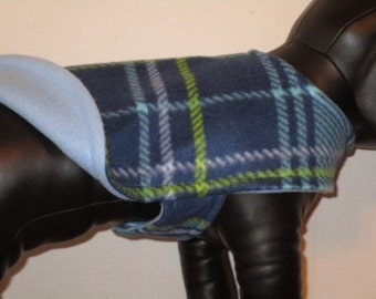 DOG COAT Fleece Blue Tartan with Light Blue Reverse Side.