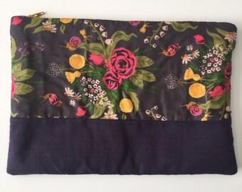Purple floral large pouch
