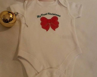 White embroidered Christmas Baby Girl Bodysuit 100% Organic Cotton Applique - Red -Bow Embroidered Short or Long Sleeved, baby girl bodysuit
