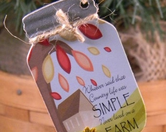 Country Living in a Jar, The Simple Life Mason Jar, Mason Jar Ornament