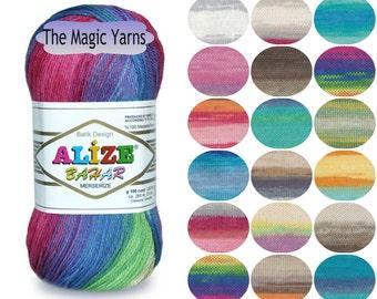 ALIZE BAHAR BATIK, soft 8 ply cotton yarn, summer yarn,batik colors, dk yarn, medium, 8ply cotton yarn,mercerised cotton yarn,crochet yarn