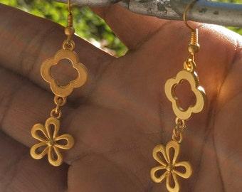 Clover, Daisy Drop Earrings, Gold Plated, Handmade, Hook Earrigs