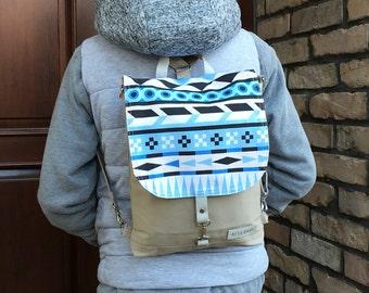 Triangle Festival Backpack, Waterproof Crossbody Bag, Aztec Backpack, Festival Rucksack, Blue Student Bag, Mini Shoulderbag, Convertible Bag