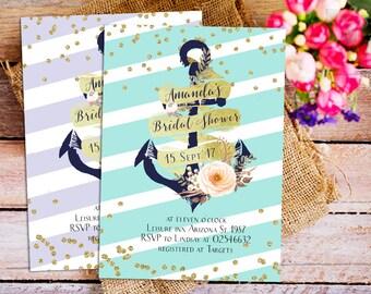 Nautical Bridal Shower invitation, navy blue and white stripes bridal shower invitation, gold confetti bridal shower, anchor invitation