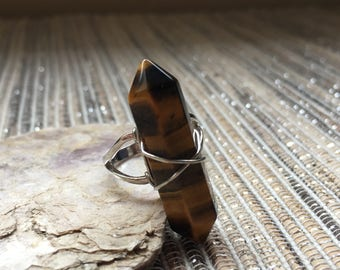 Wire Wrapped Tigers Eye Ring - adjustable