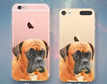 Boxer Dog Puppy Pet Doggy Animals Best Friend Fun Awesome Cool Clear Rubber Case for iPhone 7 6s 6 Plus SE 5s 5 5c iPod Touch