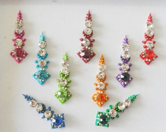 9 Tikka Bindi,Long crystal bindi stud with rhinestones,Third eye chakra,Face jewel,High quality Colorful bindi,Indian wedding Labret bindi