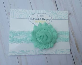 Aqua Flower Lace Headband- bBaby Headband, Infant Headband, Spring Headband, Mint Headband, Baby Girl Hair Accessories, Easter Headband
