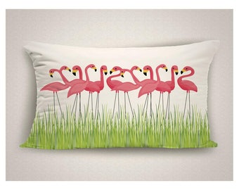 Outdoor Pillows with Lawn Flamingos, Whimsical Patio Pillow Cover, Flamingo Throw Pillow for Patio, Decorative Outdoor Pillow Cushion