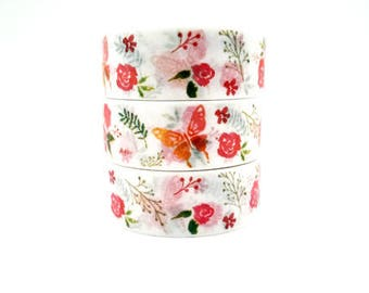 Design Washi tape bright roses Butterfly