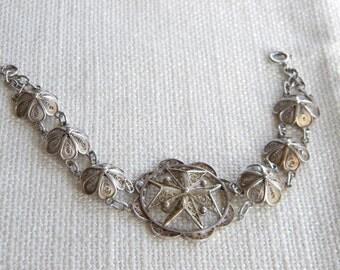 "Filigree MALTESE CROSS bracelet SILVER ~ 7"" = 18cm long ~ beautiful ~ inA2150"