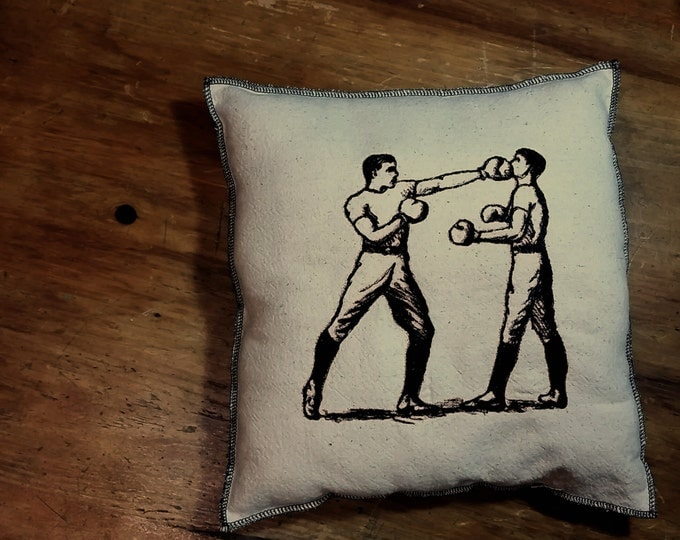 Boxing  Embroidered Modern Vintage Graphic Upcycled Canvas Pillow