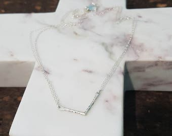 Sterling Silver Hammered 'V' Double Chain Necklace