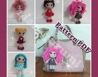 Pattern, boss, tutorial of amigurumi, dolls crochet bag jewel
