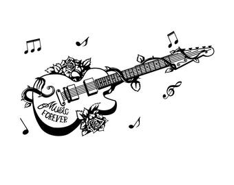 Beautiful and Gorgeous Guitar Wall Decal for Living Room Decor, Bedroom Decal, Nursery Wall Decal, Removable, High Quality Matte Vinyl