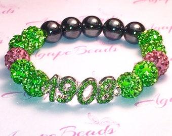 Alpha Kappa Alpha AKA Inspired Green Crystal 1908 Bracelet