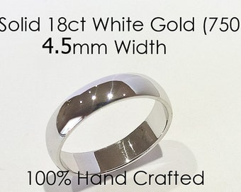 18ct 750 Solid White Gold Ring Wedding Engagement Friendship Friend Half Round Band NEW 4.5mm