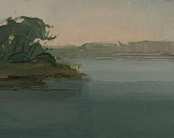 Morning Haze, Original plein air palette knife landscape painting on 4x6 canvas board.