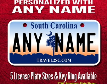 Personalized South Carolina License Plates - Sizes for toy cars, wagons, bikes, cars, scooters, Key Rings (Ver1)