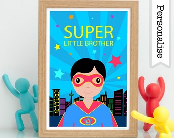 Super Little Brother Print, Little Brother Gift, Little Brother Big Brother Print, Little Brother Big Sister, Superhero Brother Sister Gift