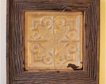 Vintage Victorian Ceiling Tin Framed Barnboard, Reclaimed Wood, Handmade by Junkwhisperer